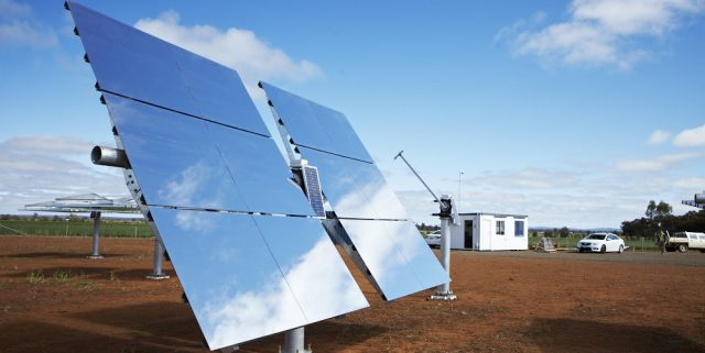 Unlike conventional solar PV, RayGen's system reflects sunlight to a central receiver