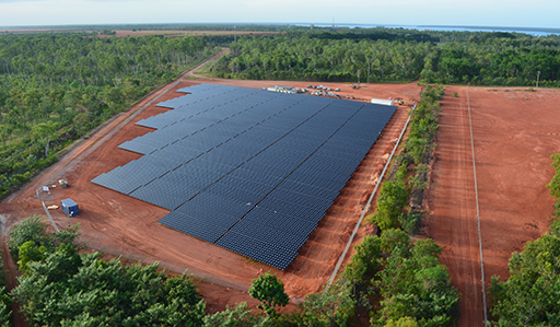 Arial view of the Weipa large-scale solar farm