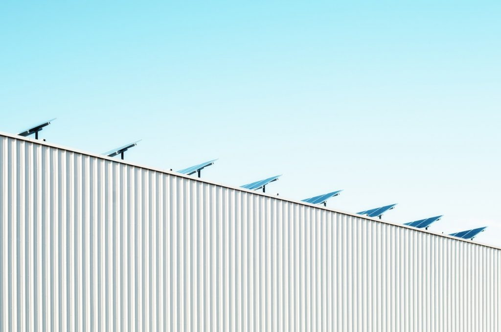 Abstract view of rooftop with solar panels