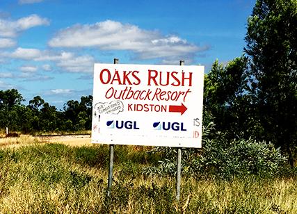 Oaks Rush Outback Resort sign