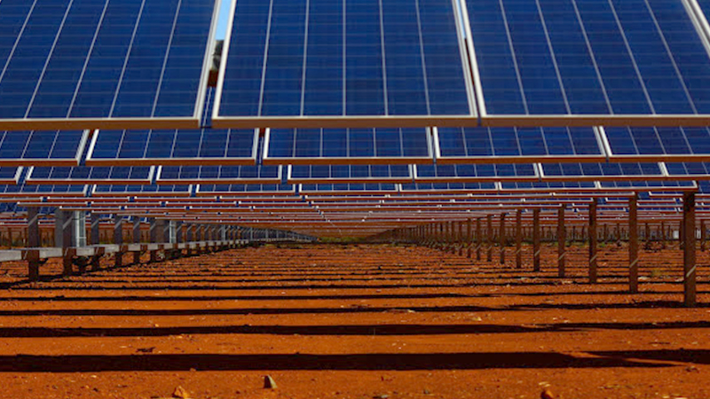 Solar panels and red dirt at the DeGrussa copper mine