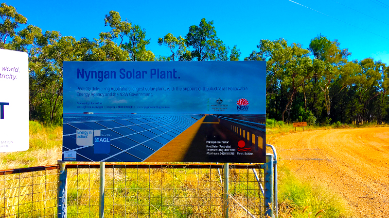 Nyngan Solar Plant sign on site