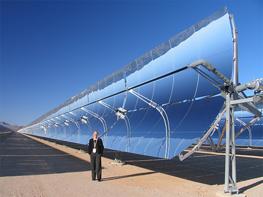 A 'parabolic trough' style CST installation