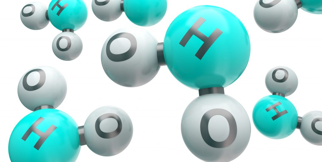 Water molecules - one H and two o's