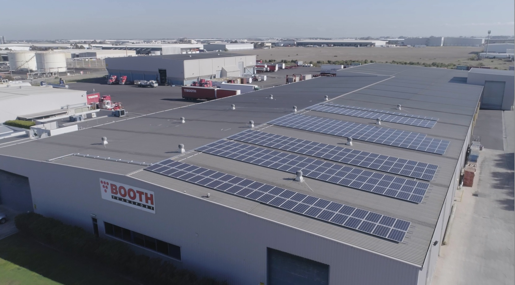 Solar panels have been installed on top of the Booth Transport headquarters