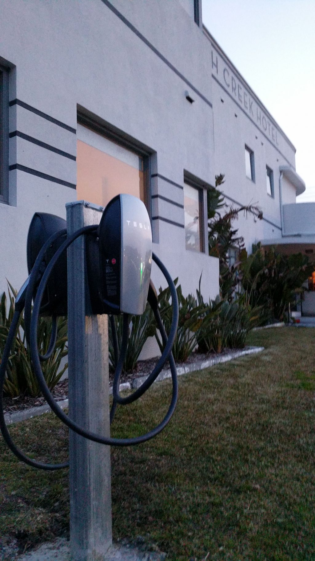 Tesla charging station at the hotel