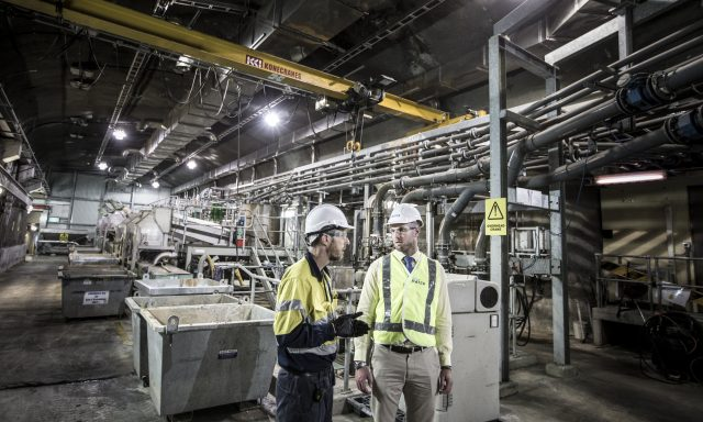 Workers inside the Bondi water treatment plant