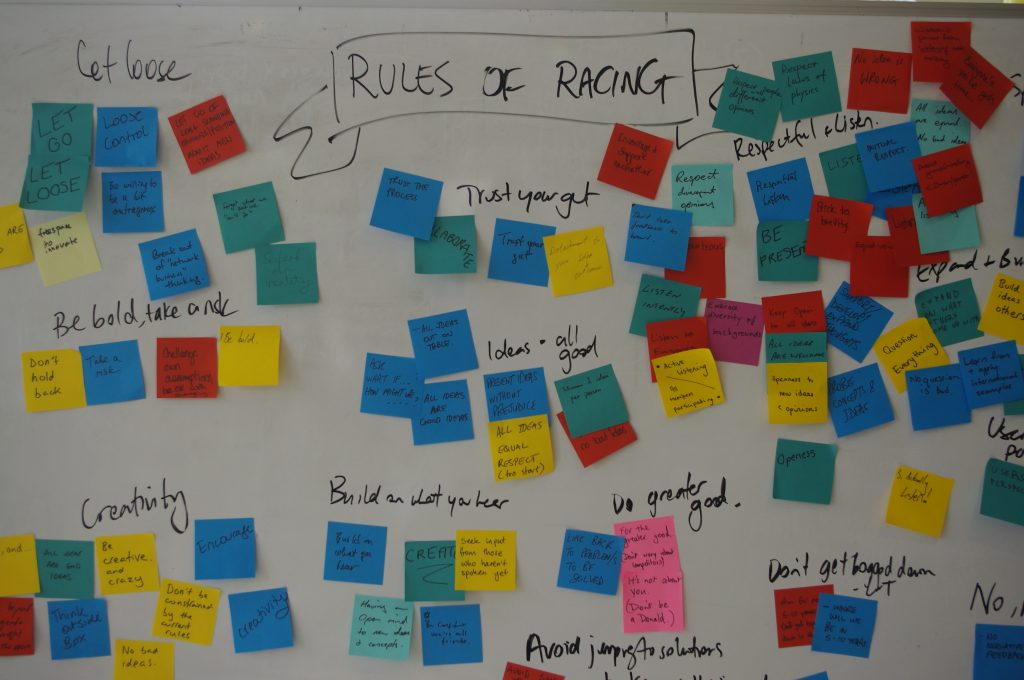 Ideas board filled with sticky notes of ideas