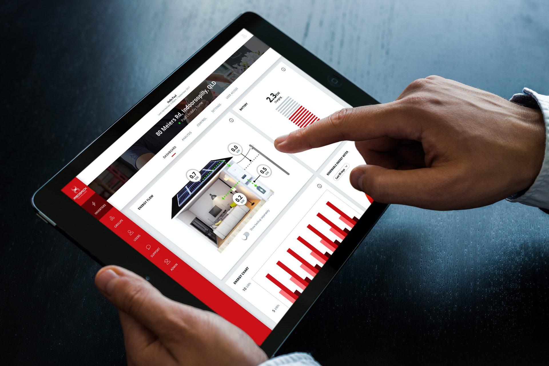 Redback website viewed on an iPad