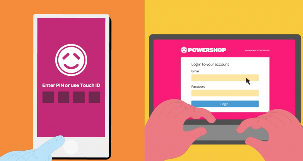 Illustration of the Powershop application on a smartphone and notebook
