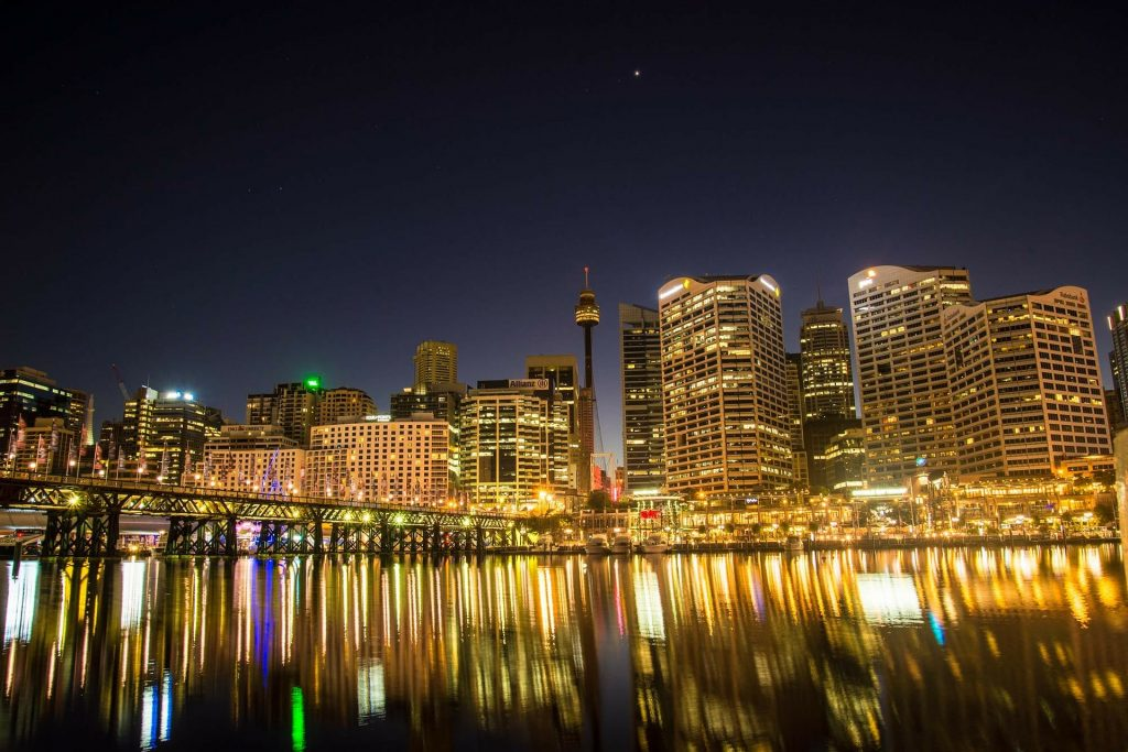 Darling Harbour with lights at night