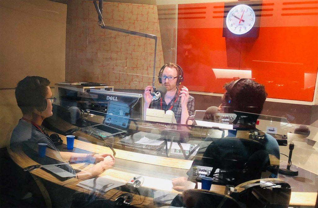 Adam Morton in the studio recording for The Innovators