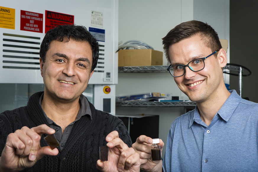 RMIT'S Kourosh Kalantar Zadeh and Torben Daeneke with their solar paint