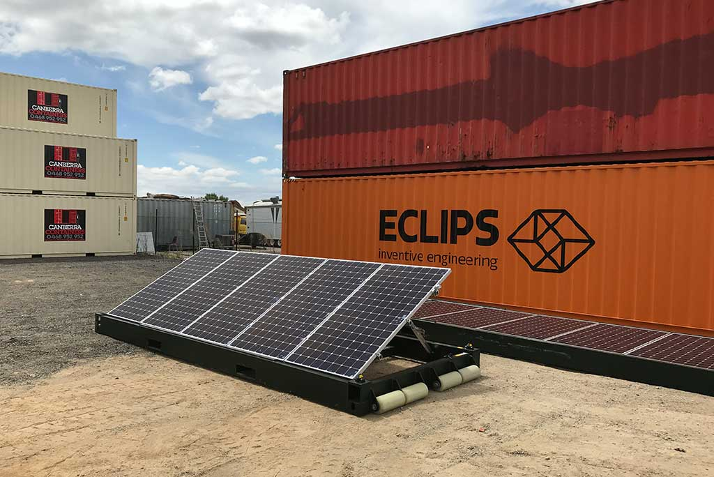 Container Roll-Out Solar System solar panels