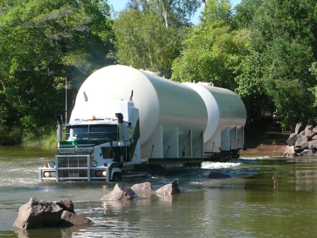 Fuel delivery by truck driving through the water to Gunbalunya