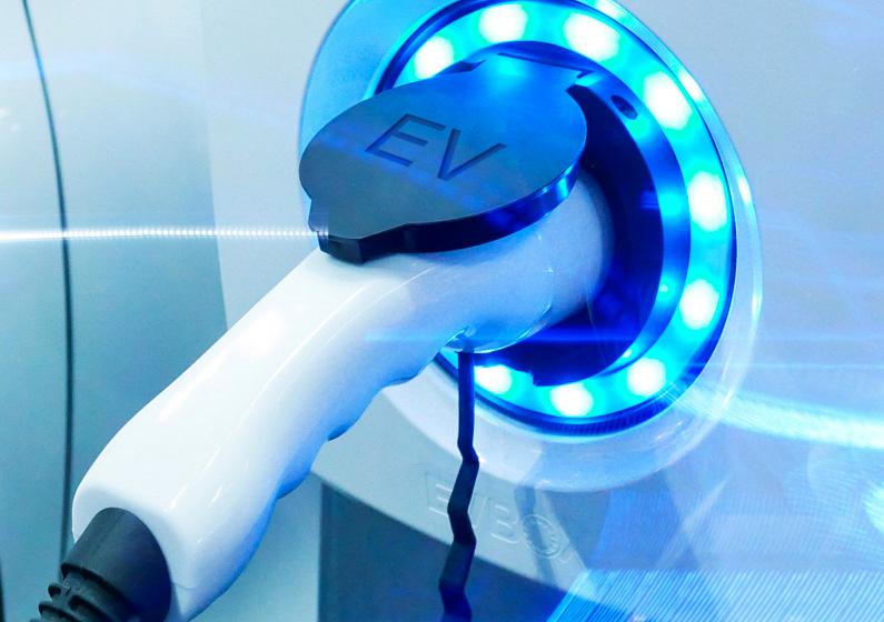 EV charging station close up