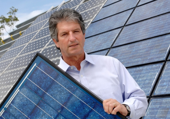 Professor Martin Green with solar panel