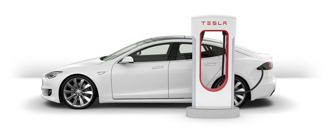Tesla charging station with electric vehicle