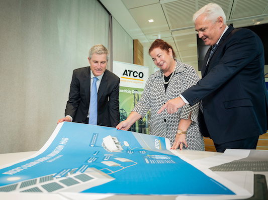 ARENA former CEO Ivor Frischknecht, Assistant Minister Melissa Price, ATCO MD Pat Creaghan