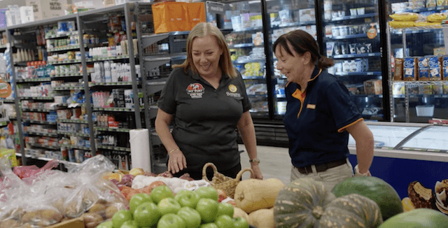 Janet Lobegeier (left) at the Collinsville supermarket