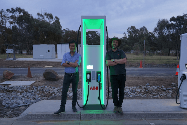 Chargefox's Tim Washington and Evan Beaver standing at a charging station