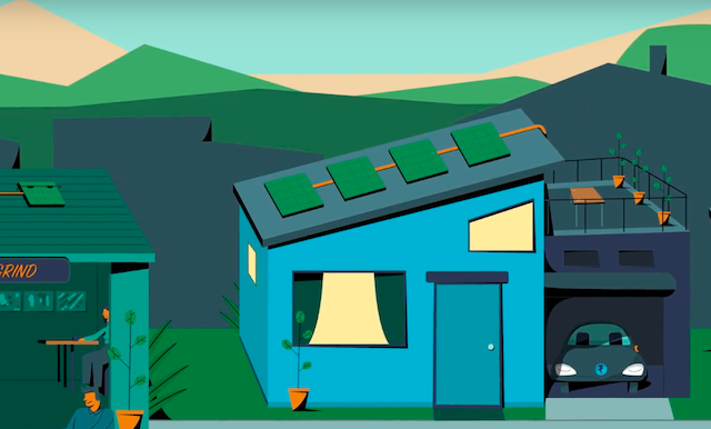 Rooftop solar panels on home animation