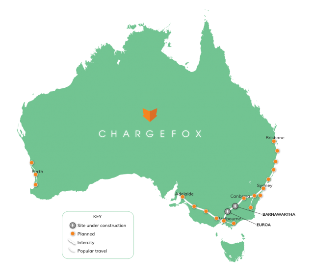 Map of Australia detailing the Chargefox charging sites