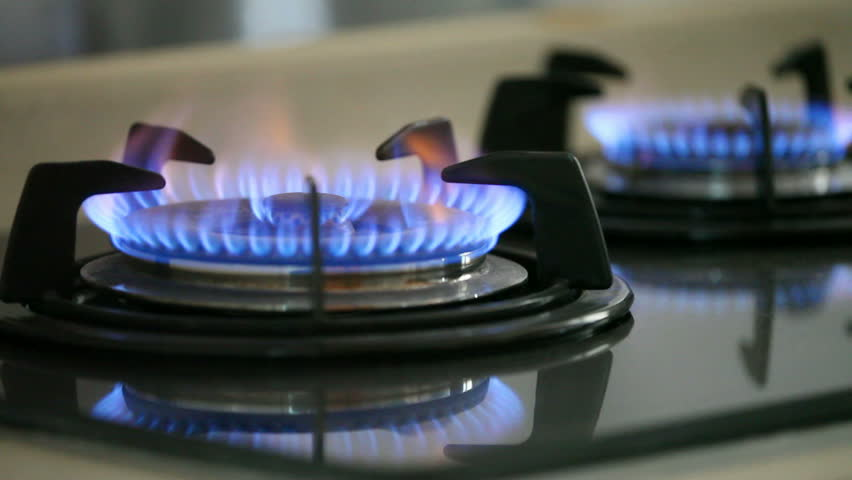 Renewable energy gas being used in a cooktop stove