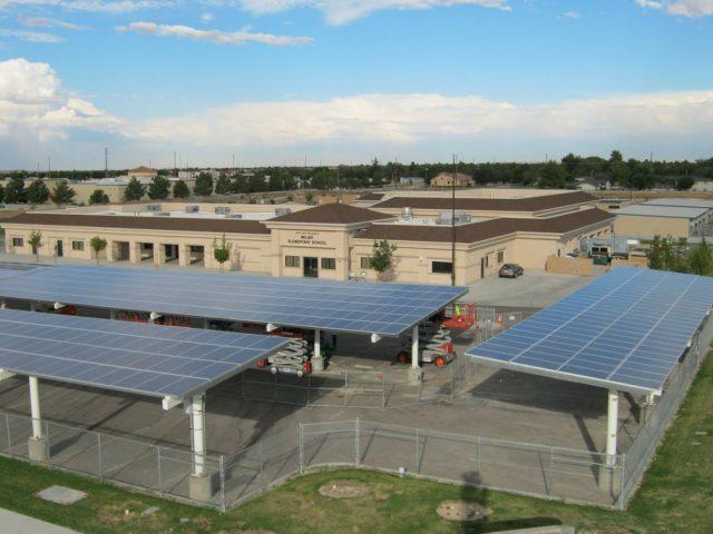 Solar panels at Miller Elementary School in Lancaster