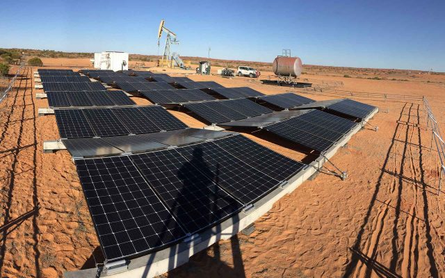 The solar array powering the pilot pump