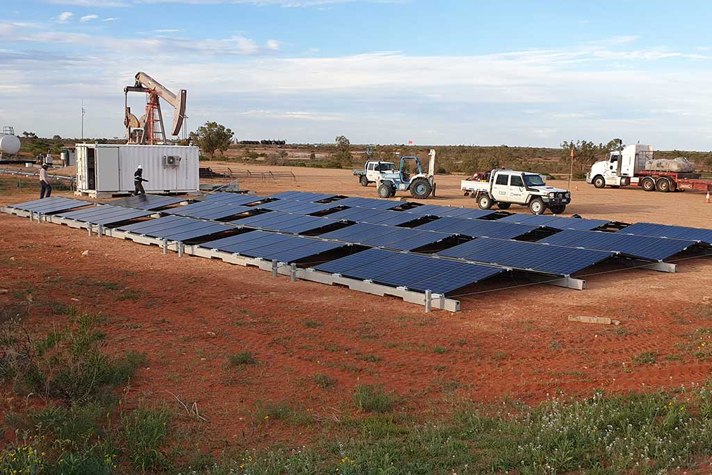 Solar panels being setup