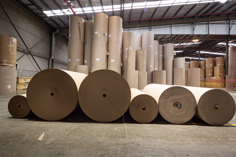 Recycled paper at Orora's mill