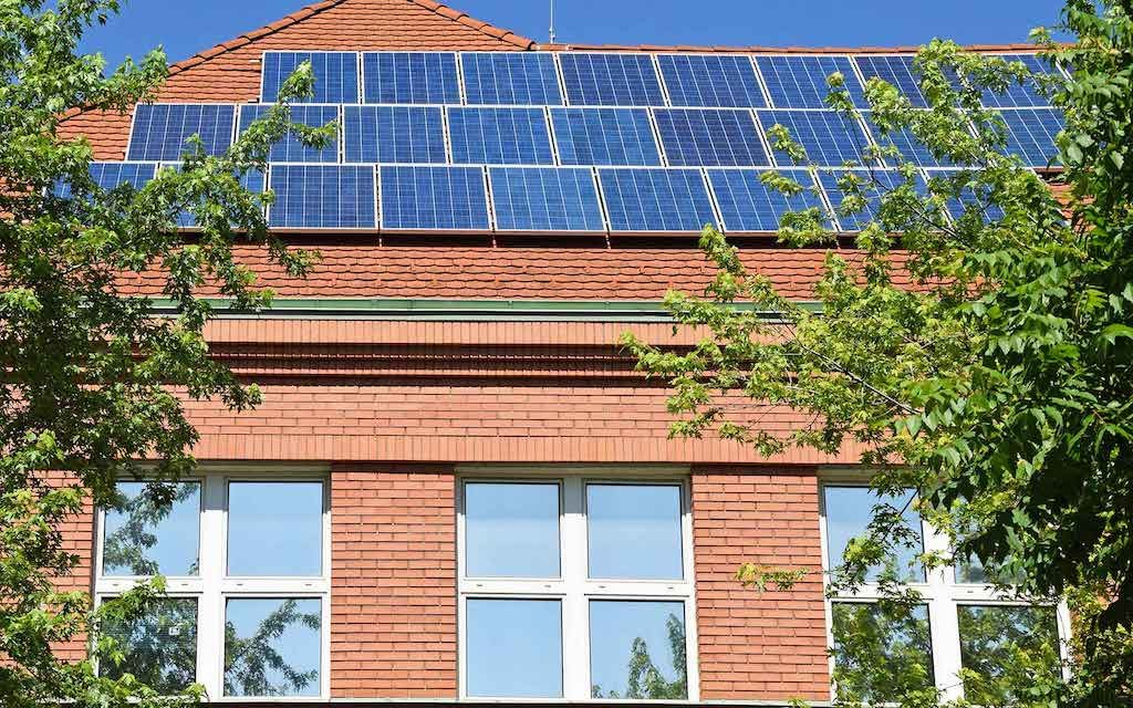 Sustainable school with solar panels