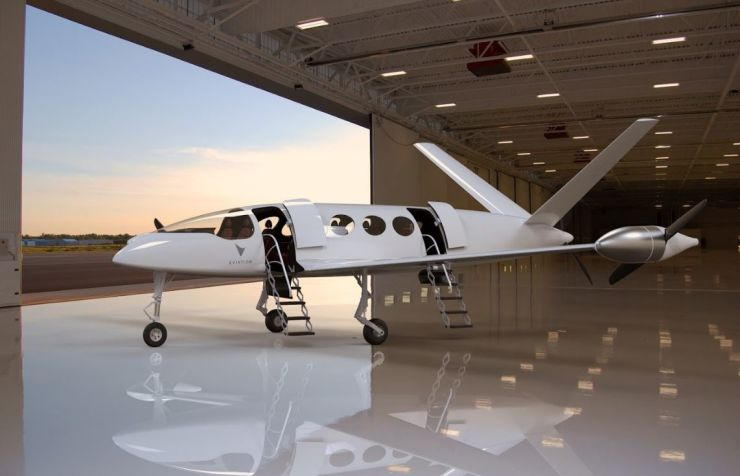 Electric aircraft in hangar