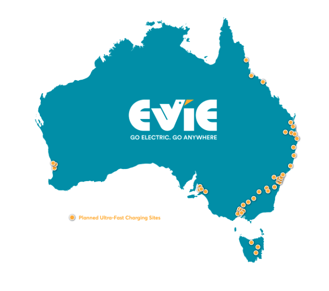 Australia's newest electric vehicle charging station network - EVIE