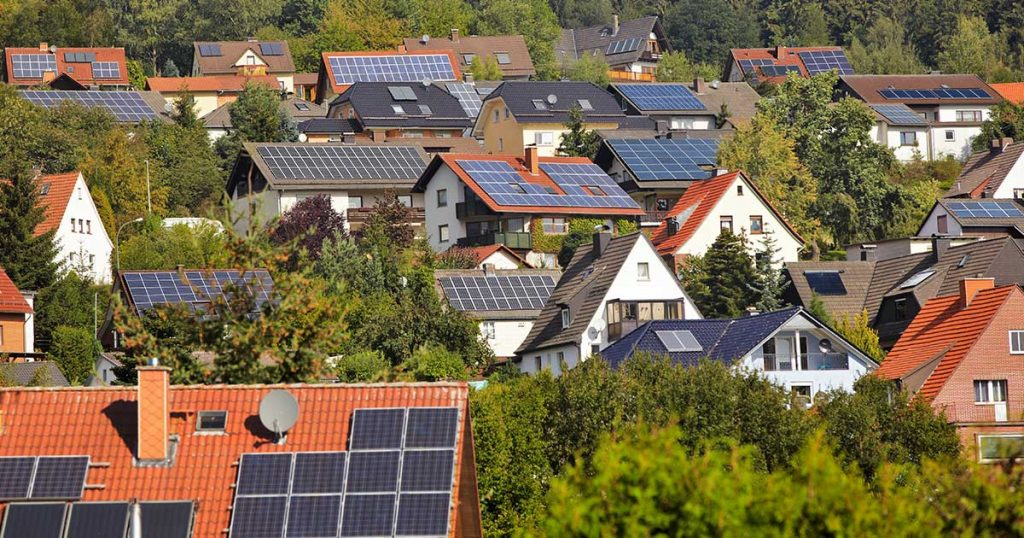 Solar panels on household rooftops