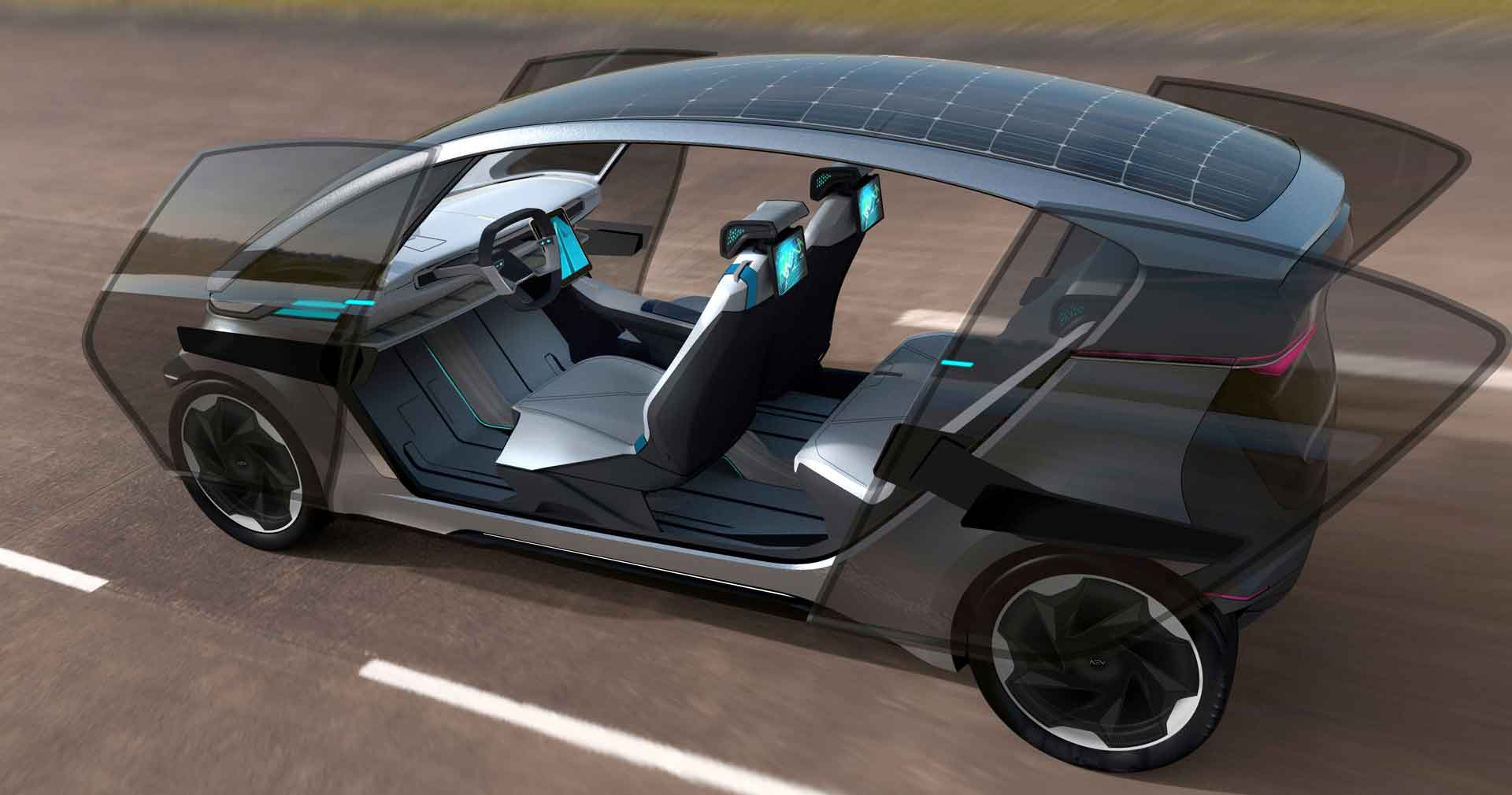 Homegrown autonomous EV charges from solar panels in roof Image
