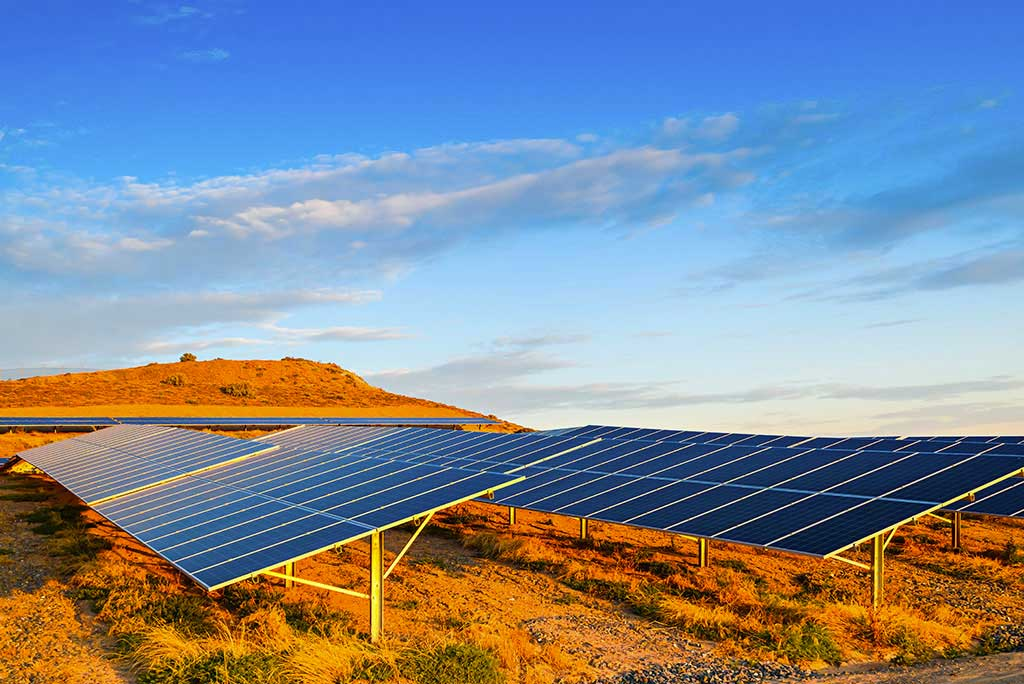 Solar panels in a remote location