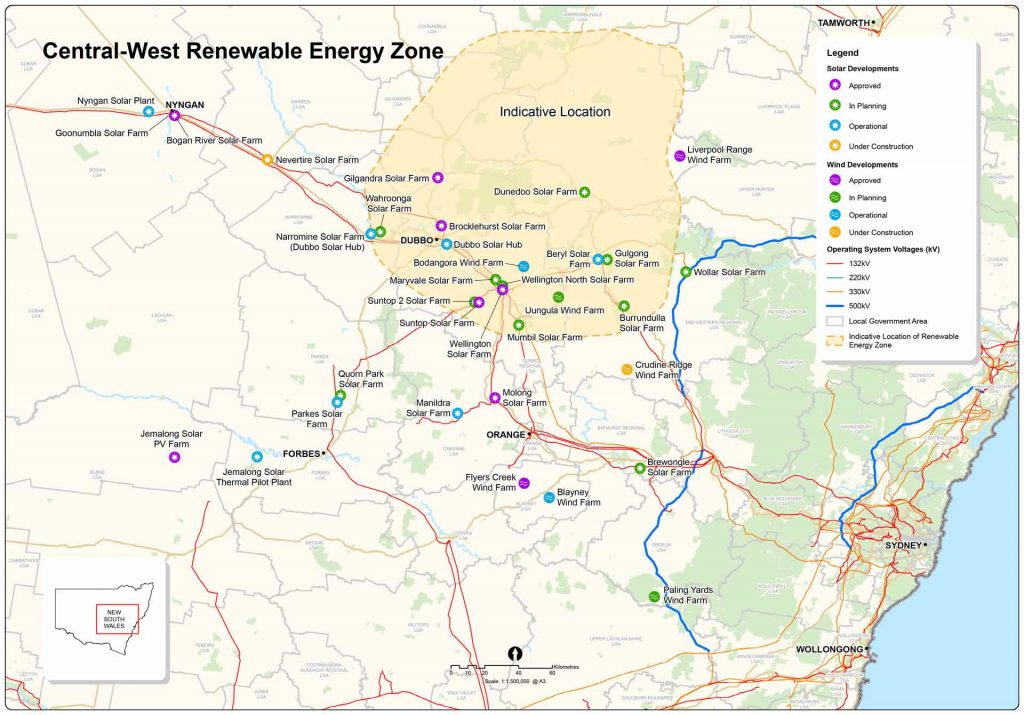 Central-West Renewable Energy Zone map