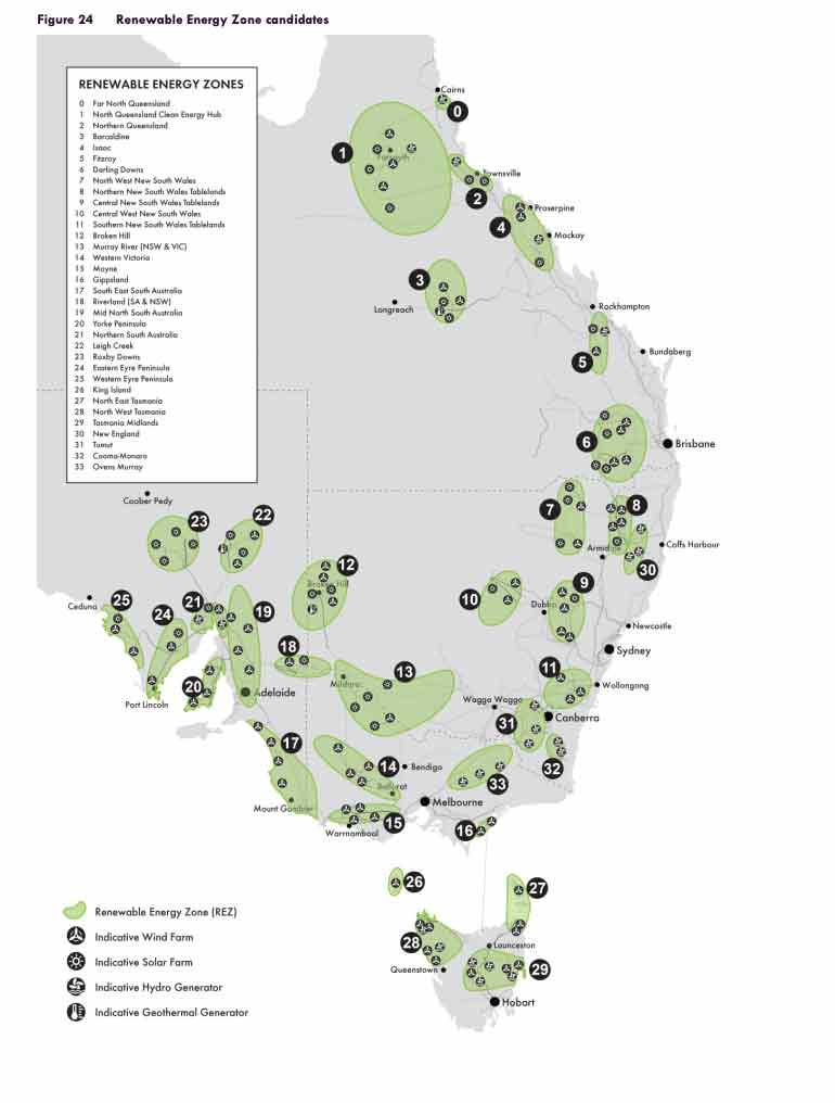 Renewable Energy Zones on Australia map