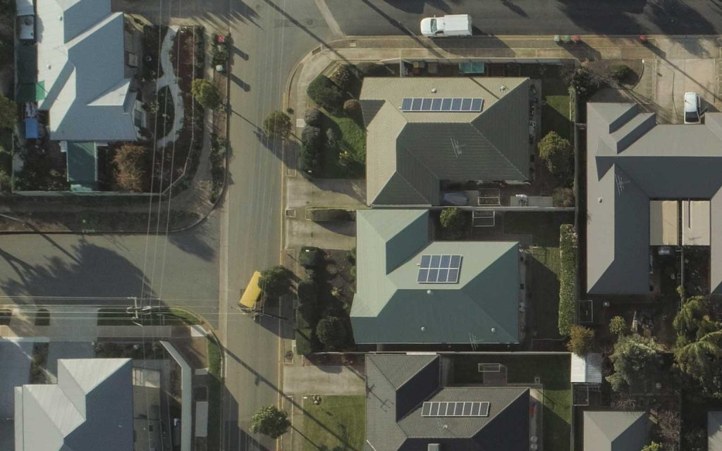Arial view of residential houses