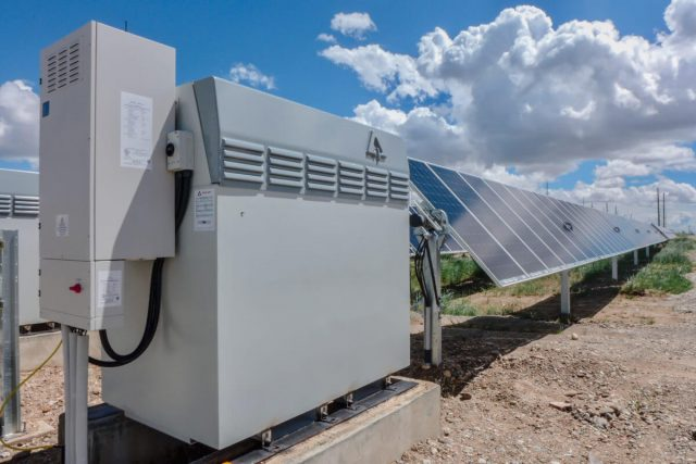 An Invinity flow battery module connected to a solar array
