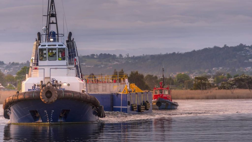 The Uni Wave200 being towed by a tug boat. Image: Wave Swell Energy