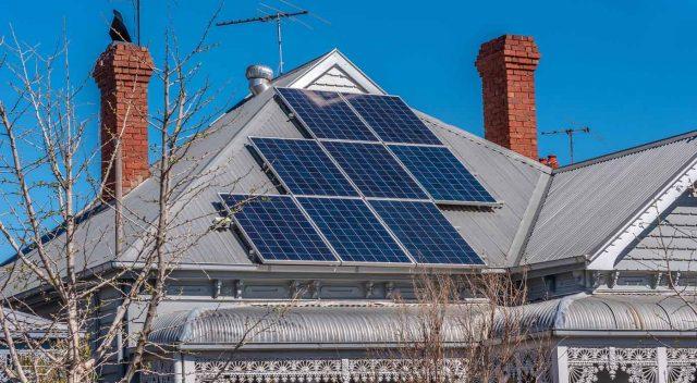Solar panels on roof of Australian home