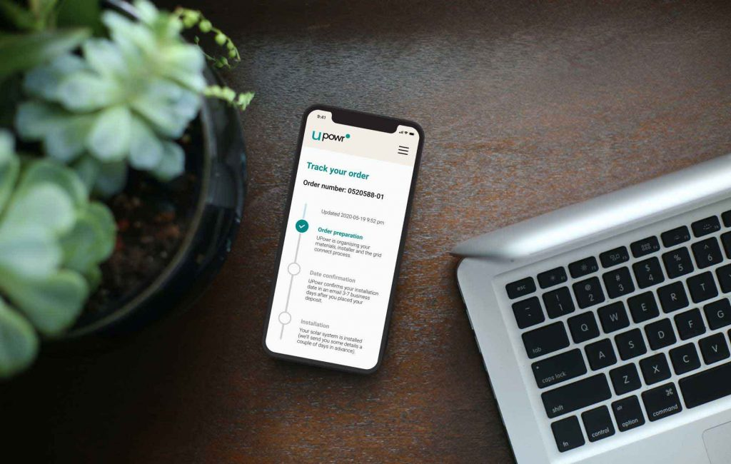 Home battery program website displayed on smartphone